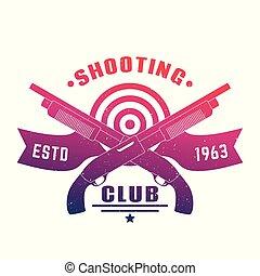 Shooting club emblem with two crossed shotguns