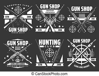 Shooting club, hunting and gun shop icons