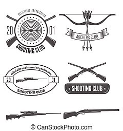 Shooting club label collection of elements and emblem or design