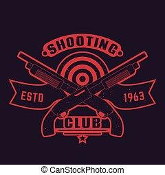 Shooting club logo with guns, crossed shotguns