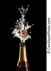 shooting cork champagne bottle