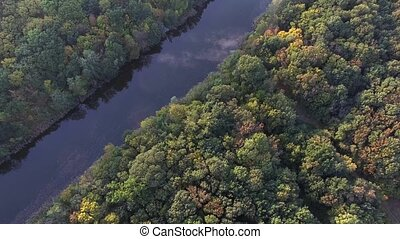Shooting from height mouth of a small river and autumn trees