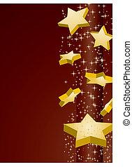 Shooting golden stars on brown background, vector illustration