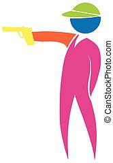 Shooting gun icon in colors