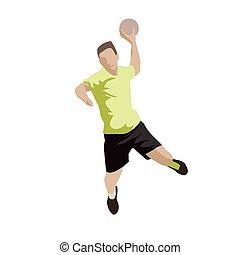 Shooting handball player, abstract flat design vector illustration