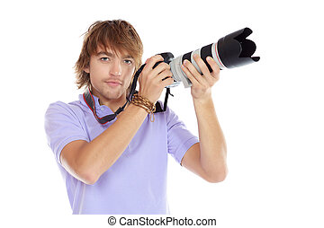 shooting - Handsome young man taking pictures on the camera...