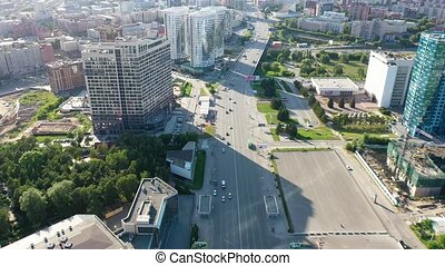 Shooting high-rise buildings and city streets from a height....