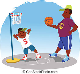 Shooting hoops - Black man plays basketball with a little...