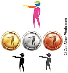 Shooting icon and sport medals