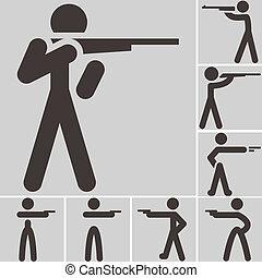 Shooting icons - Summer sports icons set - shooting icons