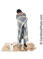 Homeless wrapped in a blanket - Shooting in a studio ...