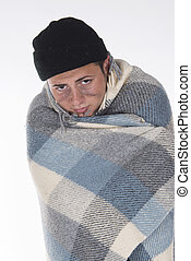 Shooting in a studio Homeless wrapped in a blanket