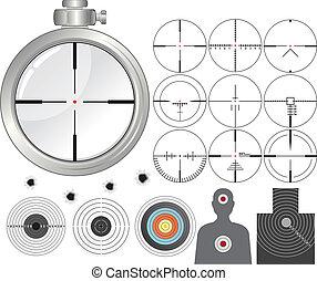 Shooting kit, targets, cross-hairs, dummies, variety guns ...