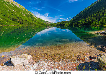 Shooting Lake Morskie Oko in the morning on a sunny day