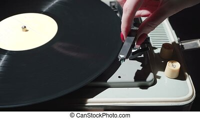 Video of a retro gramophone with a rotating record