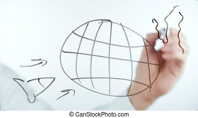 Video of a man's hand drawing on a glass deskboard