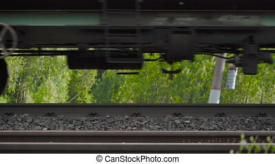 Shooting of moving freight train on the railway - Video of ...