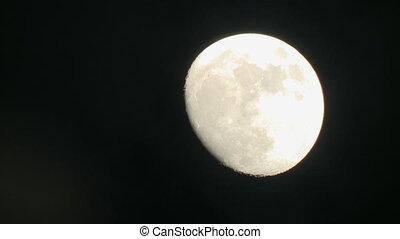 Shooting of waning moon in night sky - Shooting of waning...