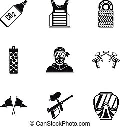 Shooting paintball icons set, simple style - Shooting...