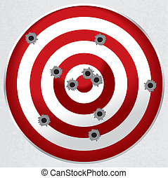 Shooting Range Gun Target with Bullet Holes - Red and white...