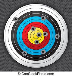 Shooting Range Gun Target with Bullet Holes - Shooting range...