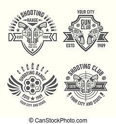 Shooting range or shooting club vector emblems