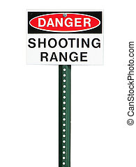 Shooting range sign isolated on a white background