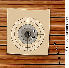 Shooting range target with bullet holes