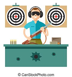 Shooting Range. Vector Flat style colorful Cartoon illustration.
