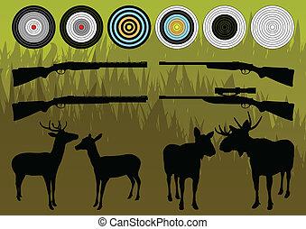 Shooting range wild deer, elk and moose silhouettes and guns...