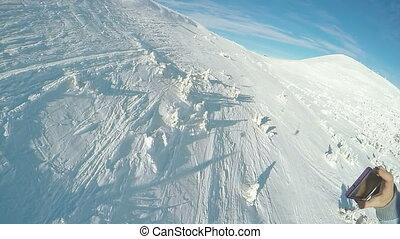 Shooting smartphone on the ski lift