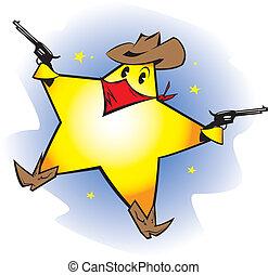 Shooting Star - A space cowboy cartoon character