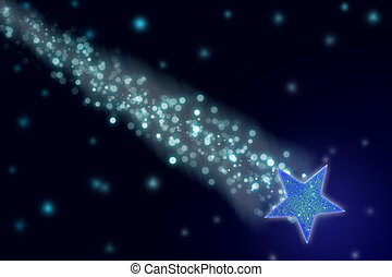 Shooting star in the night sky.