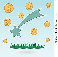 Shooting star, dollar coins. Grass concept. Christmas Star