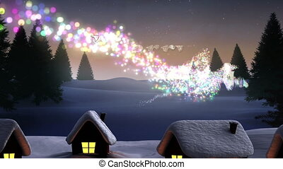 Shooting star in countryside at Christmas - Animation of a ...
