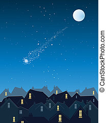 shooting star over the city - an illustration of a shooting...