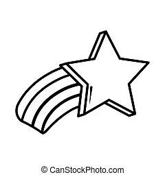 shooting star rainbow pop art comic style, line icon