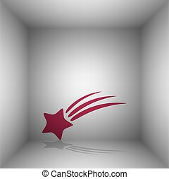 Shooting star sign. Bordo icon with shadow in the room.