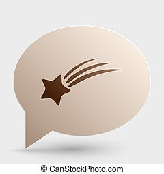 Shooting star sign. Brown gradient icon on bubble with shadow.
