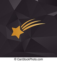 Shooting star sign. Golden style on background with polygons.