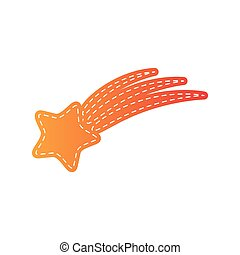 Shooting star sign. Orange applique isolated.