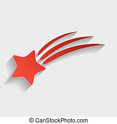 Shooting star sign. Red paper style icon with shadow on...