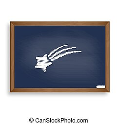 Shooting star sign. White chalk icon on blue school board with s