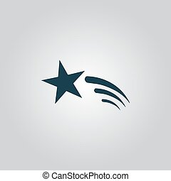 Shooting star vector icon - Shooting star. Flat web icon or...