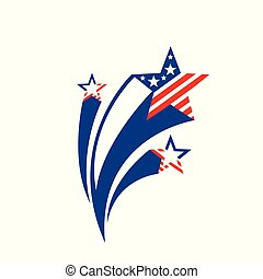 Shooting stars. Star firework celebrate USA holiday independence day, fourth july. Color and subjects american flag. Fire works 4th of july. Vector