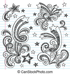 Shooting Stars Starbursts Doodle - Shooting Stars Hand-Drawn...