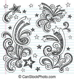 Shooting Stars Starbursts Doodle - Shooting Stars Hand-Drawn...