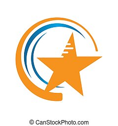 shooting stars vector with decorative Star icon on White Background