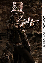 shooting steampunk - Portrait of a steampunk man in the...