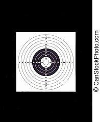 Shooting target sheet on black background